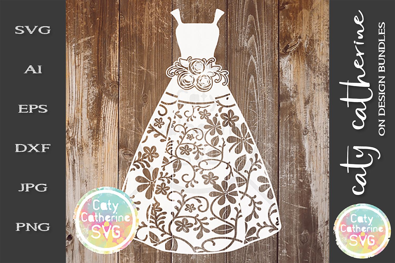 Bride Dress Gown Wedding SVG Bouquet example image 1