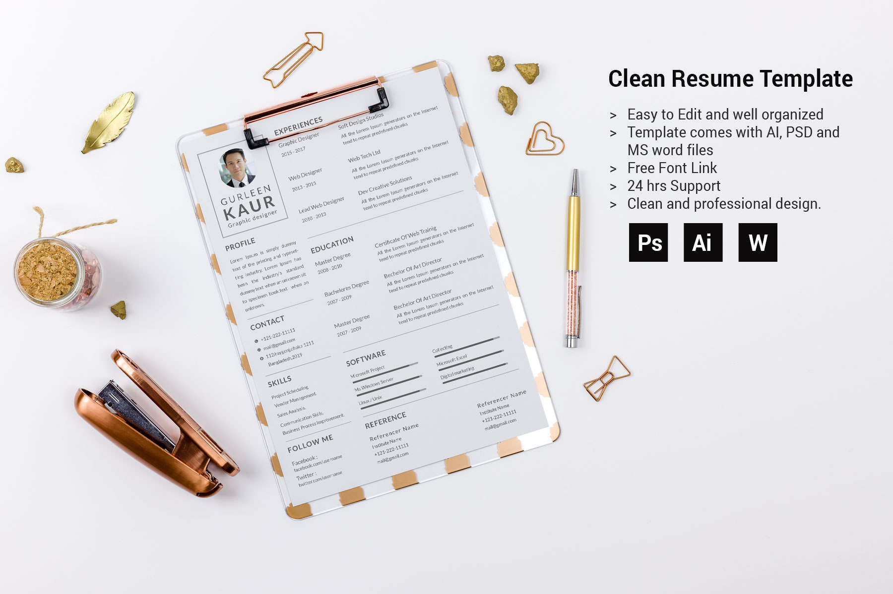Professional Cv Resume Bonus business card Word/PSD,AI example image 3