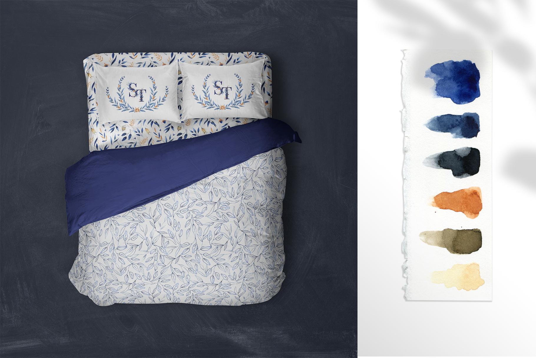 Deep Blue Alphabet Watercolor Design Kit example image 17