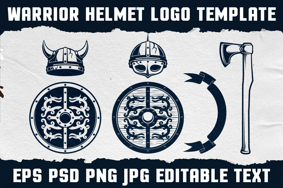 Warrior Viking Helmet Logo Template example image 4