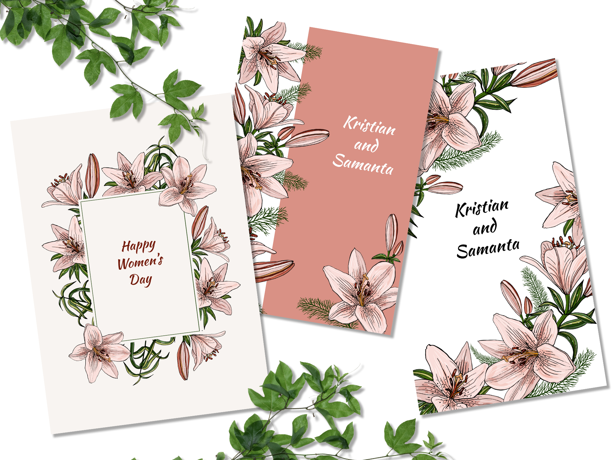 Design with lily flowers. Seamless patterns and postcards. example image 6