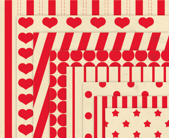 Red Background Patterns Retro Digital Paper Pack with Stripes, Dots, Stars and Hearts example image 2