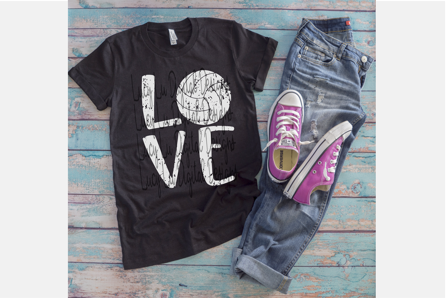 Volleyball Love - Distressed example image 2