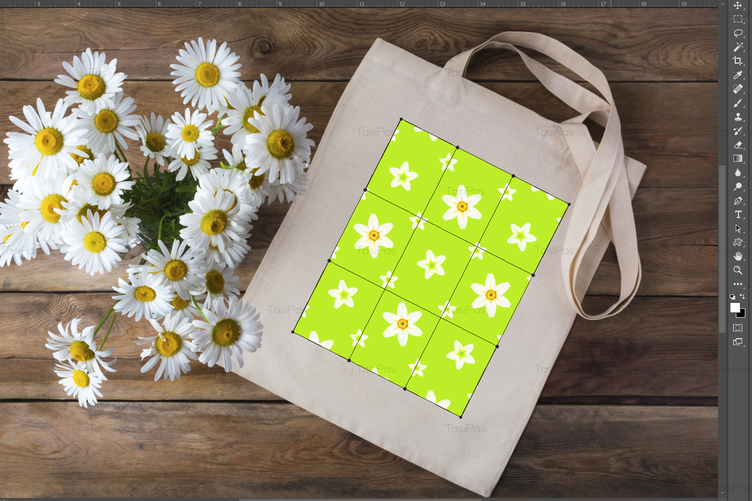 Rustic tote bag mockup with daisy example image 3