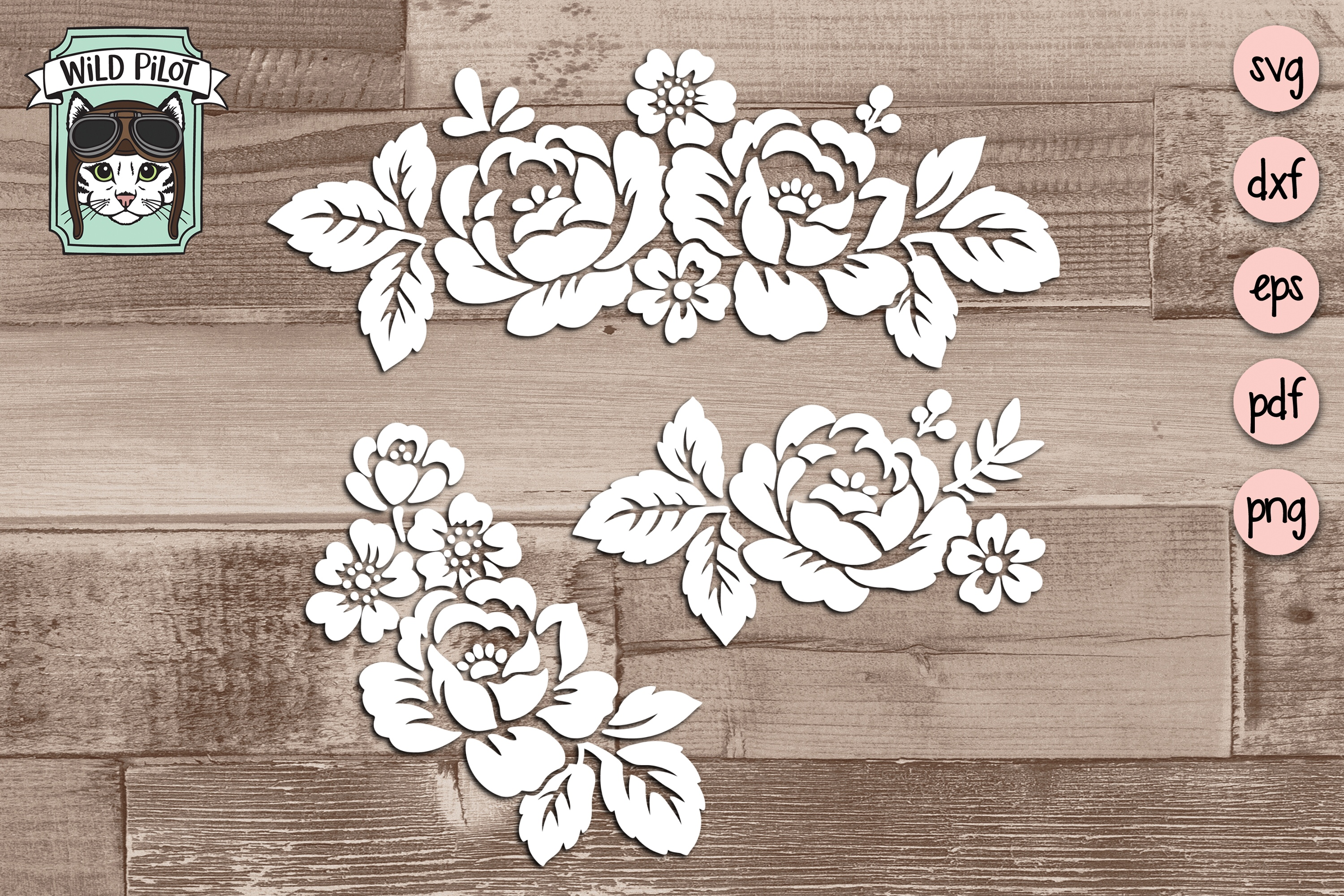 Flowers SVG file, Floral cut file, Flower Border, Stencil example image 1