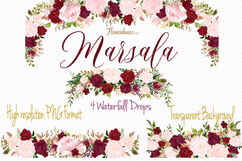 Watercolor Marsala and Blush Bundle for Weddings example image 2