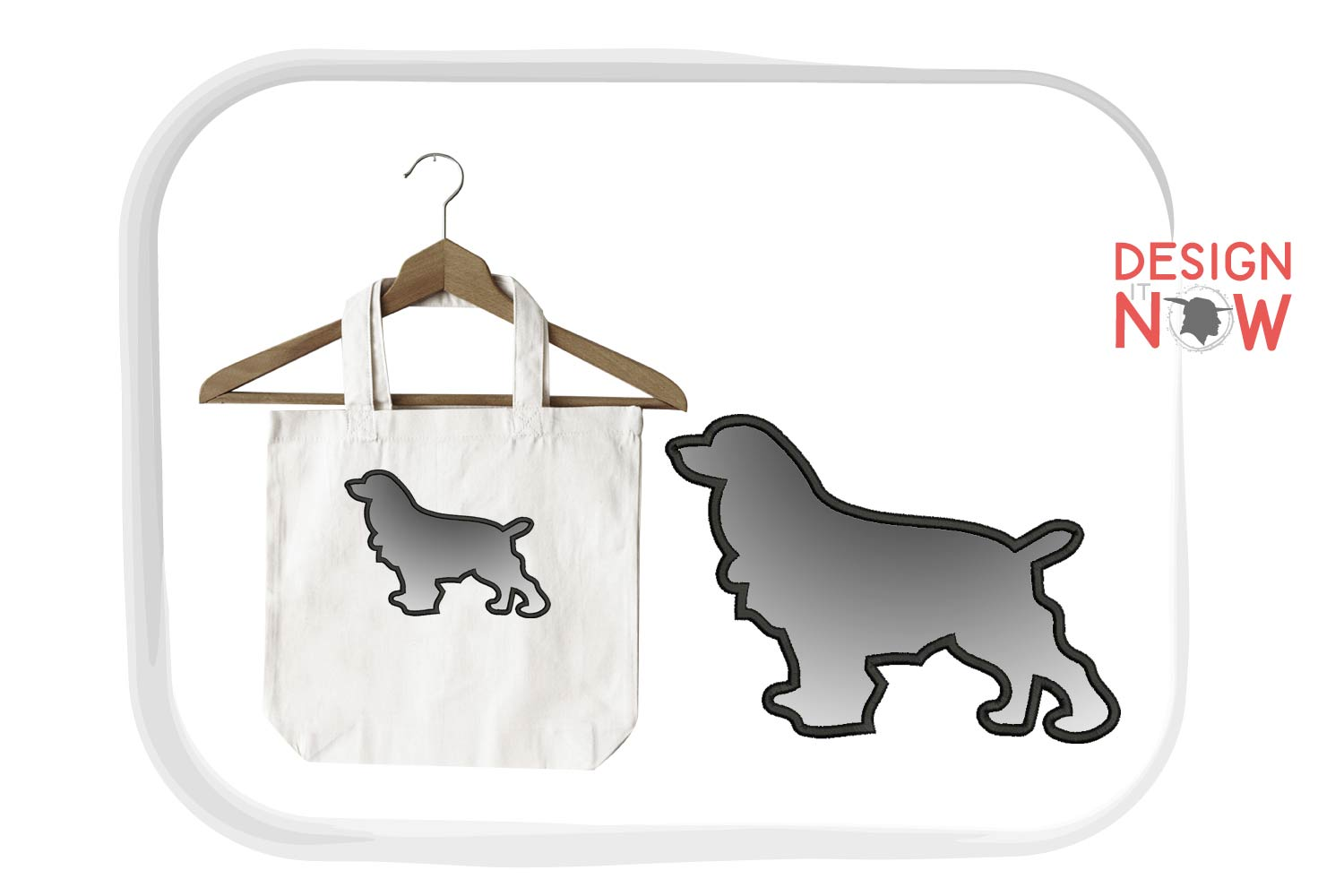 Dog Applique Embroidery Design, Dog Embroidery Pattern example image 1