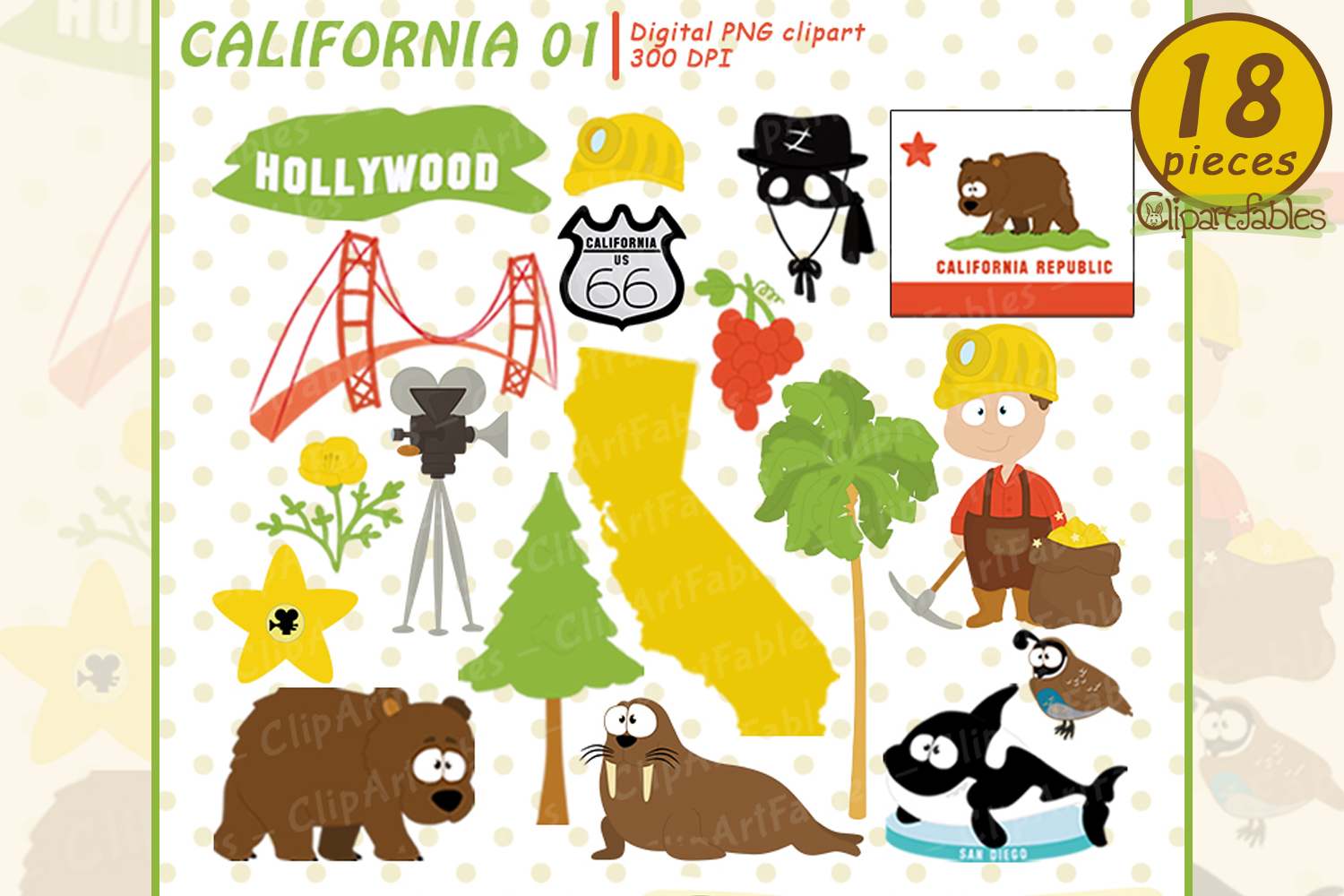 CALIFORNIA State clipart, Cute California bear - INSTANT art example image 1