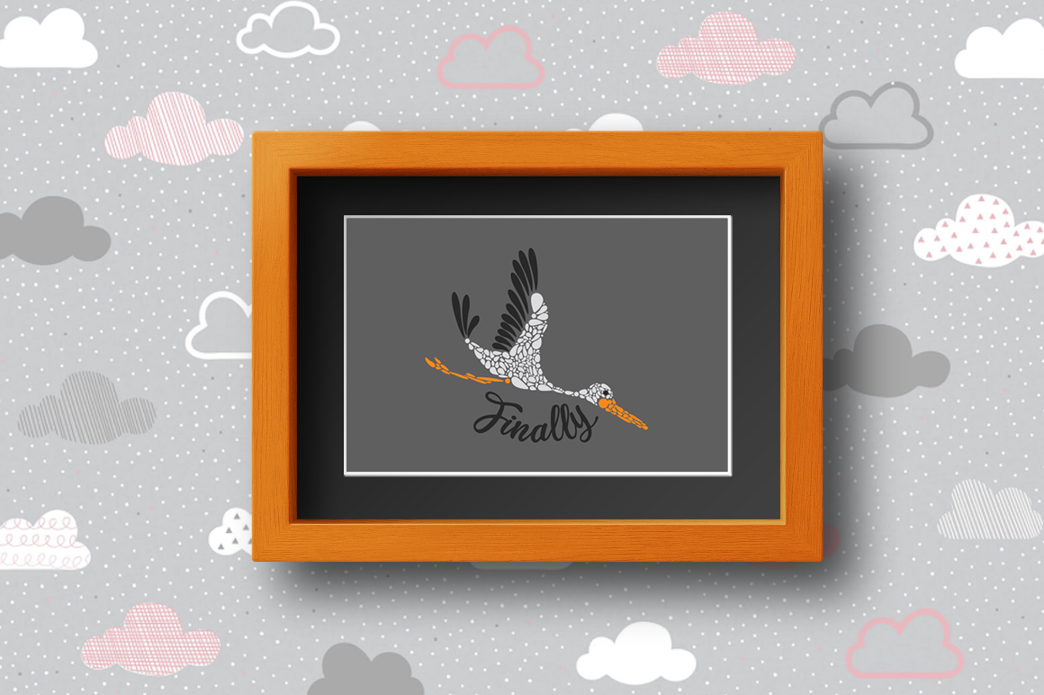 Pregnancy Announcement SVG Cut Files - Finally - Stork example image 2