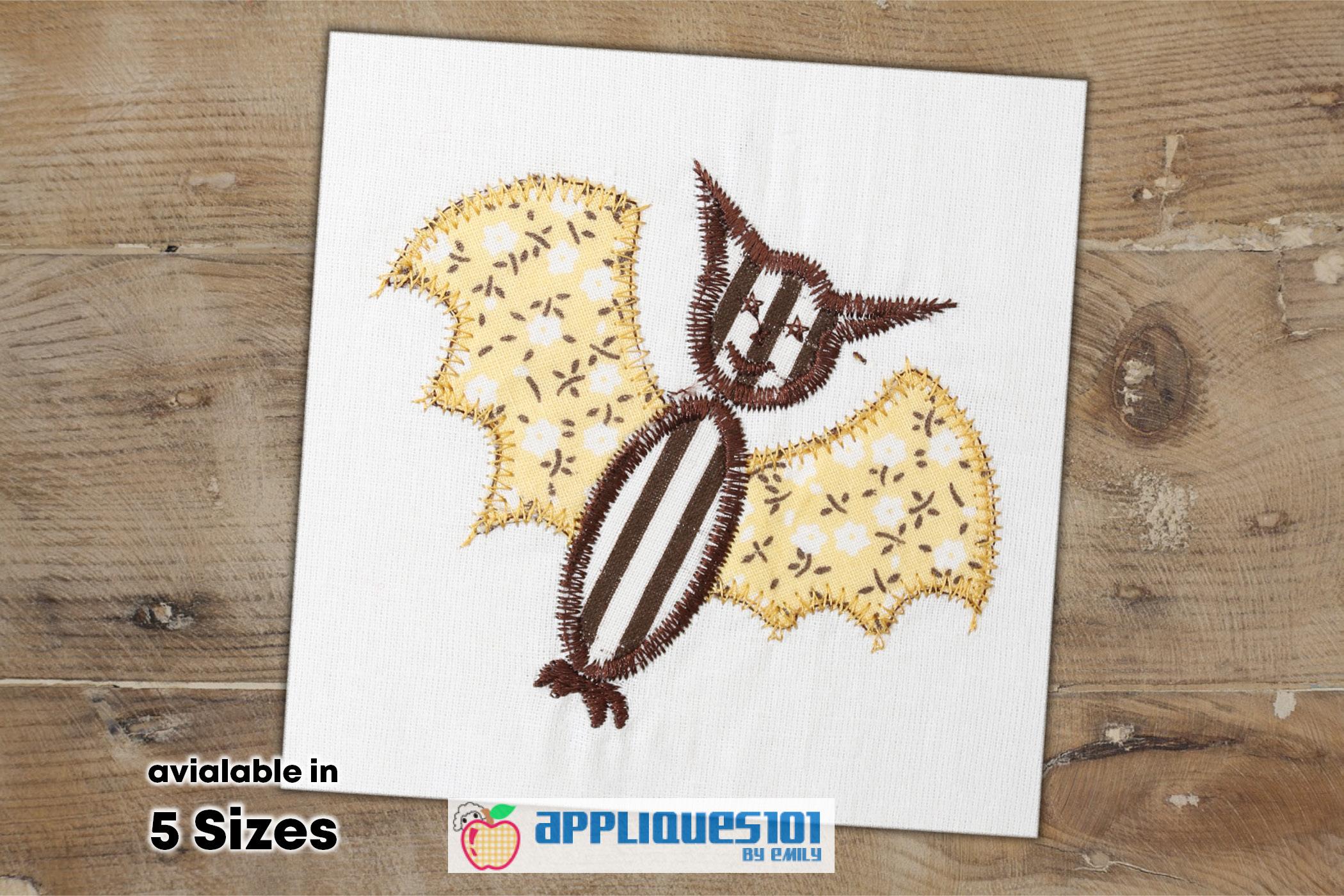 Cartoon Bat Machine Embroidery Applique Design - Bats example image 1