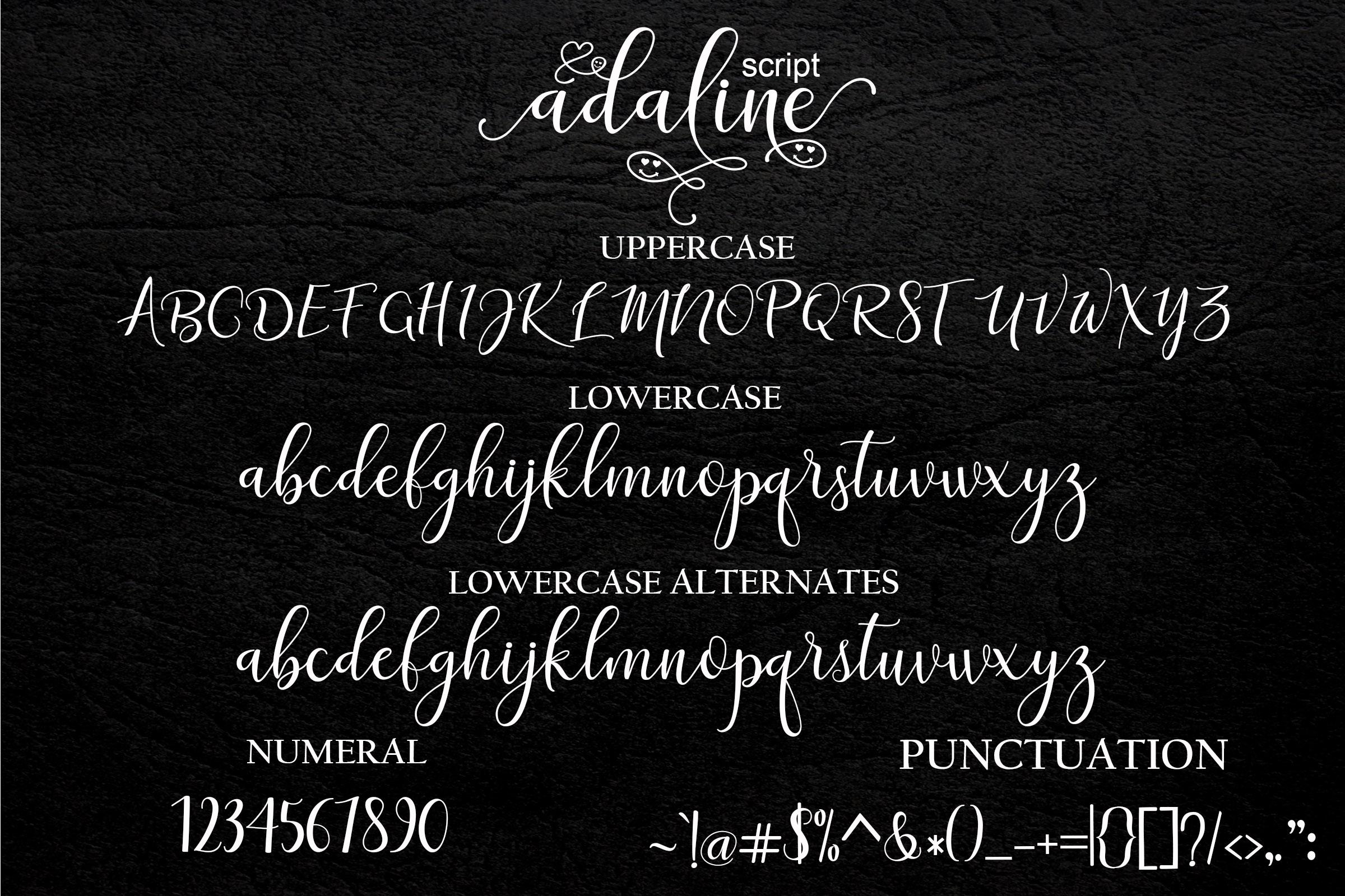 Adaline Script Font Family example image 9