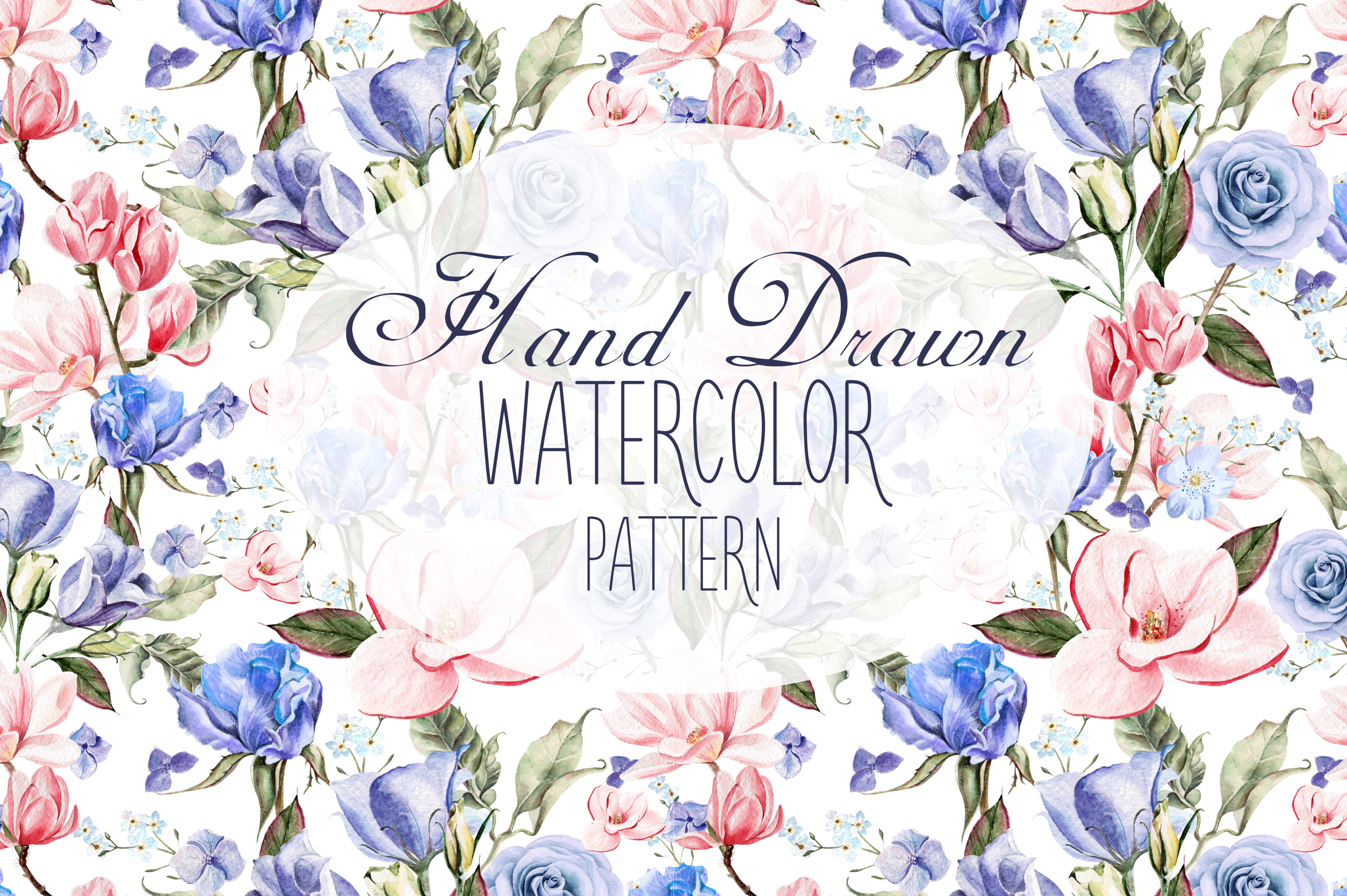 7 Hand Drawn Watercolor PATTERNS example image 1