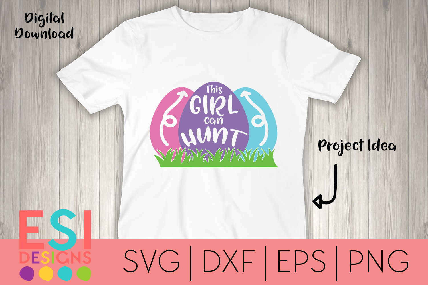 Easter SVG   This Girl Can Hunt   SVG DXF EPS PNG example image 1