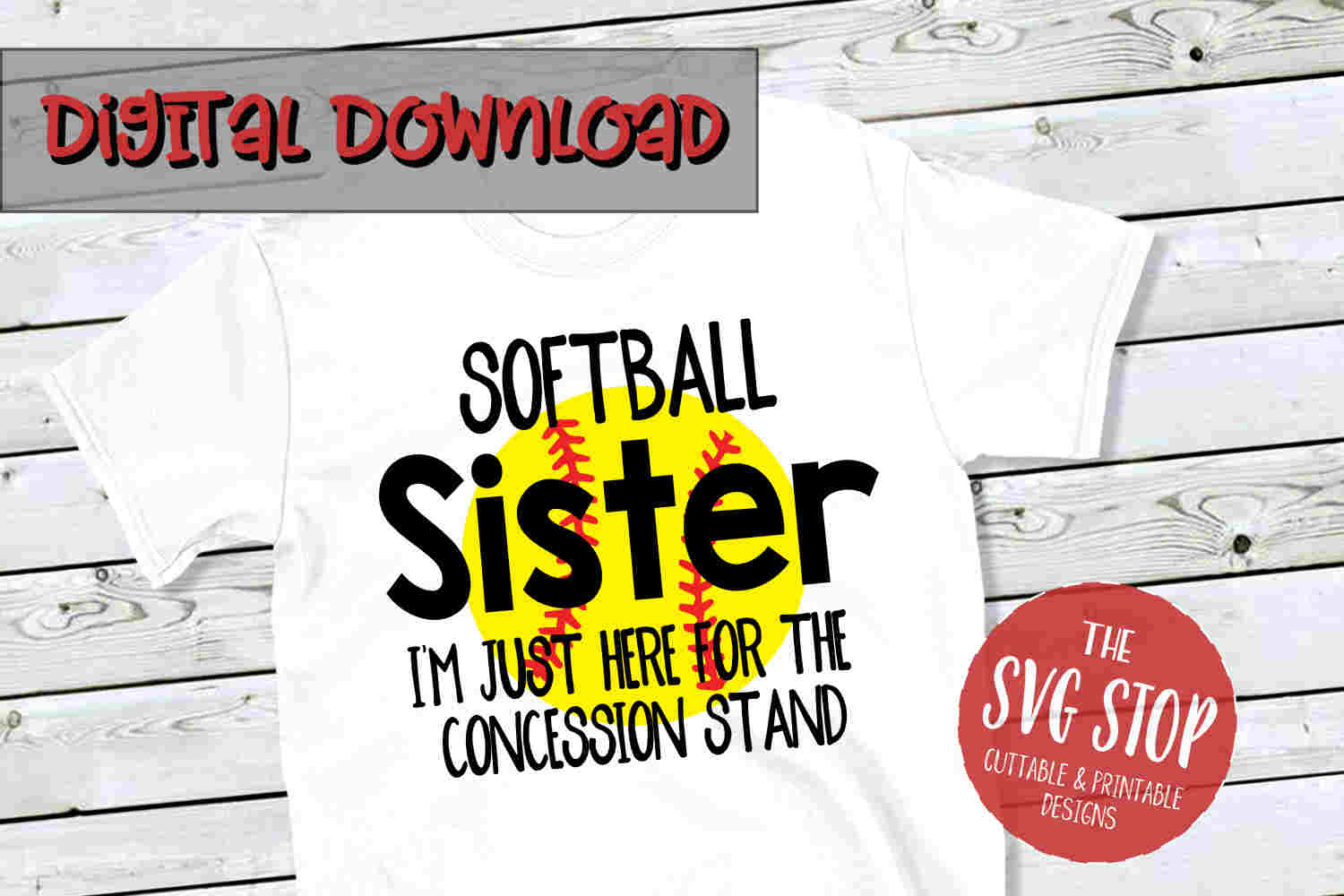 Softball Sister -SVG, PNG, DXF example image 1