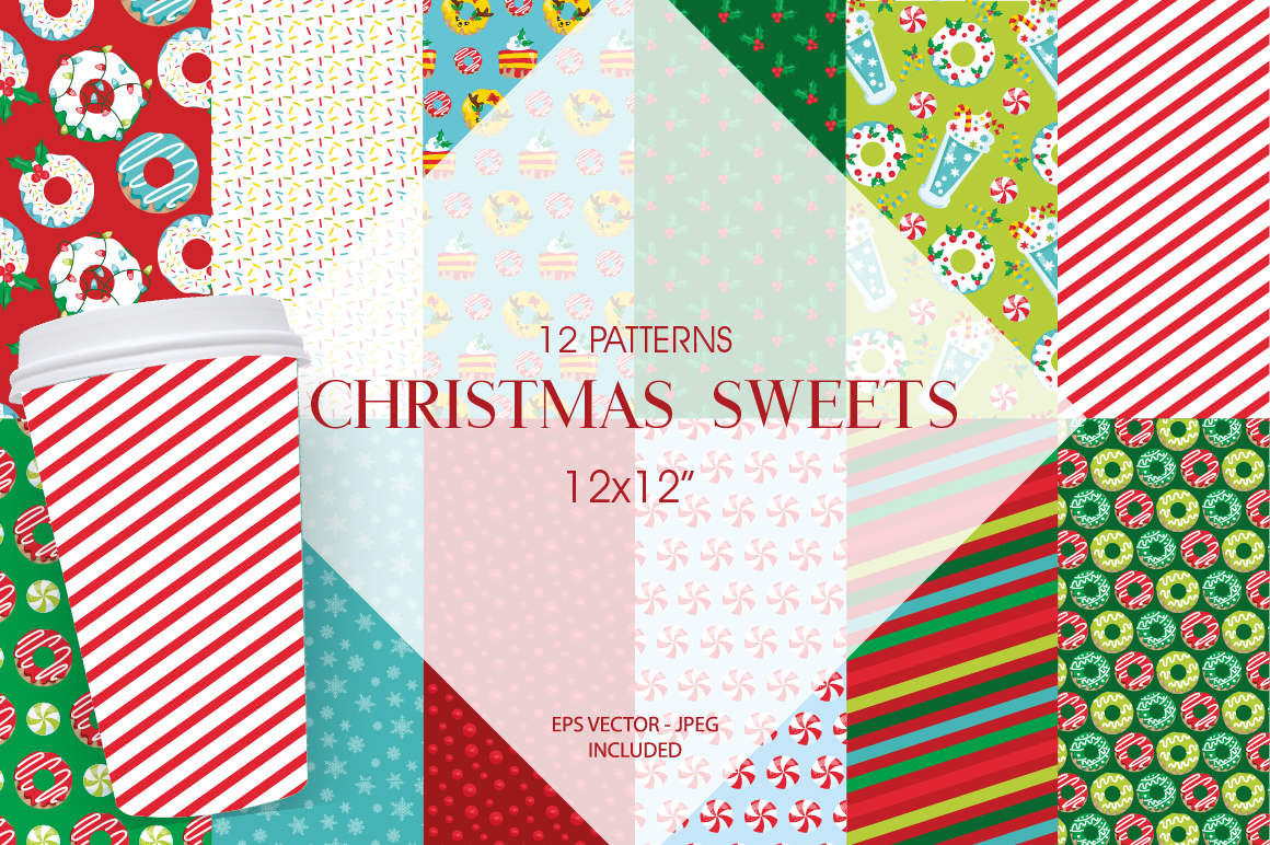 Christmas Sweets Pattern collection, vector ai, example image 1