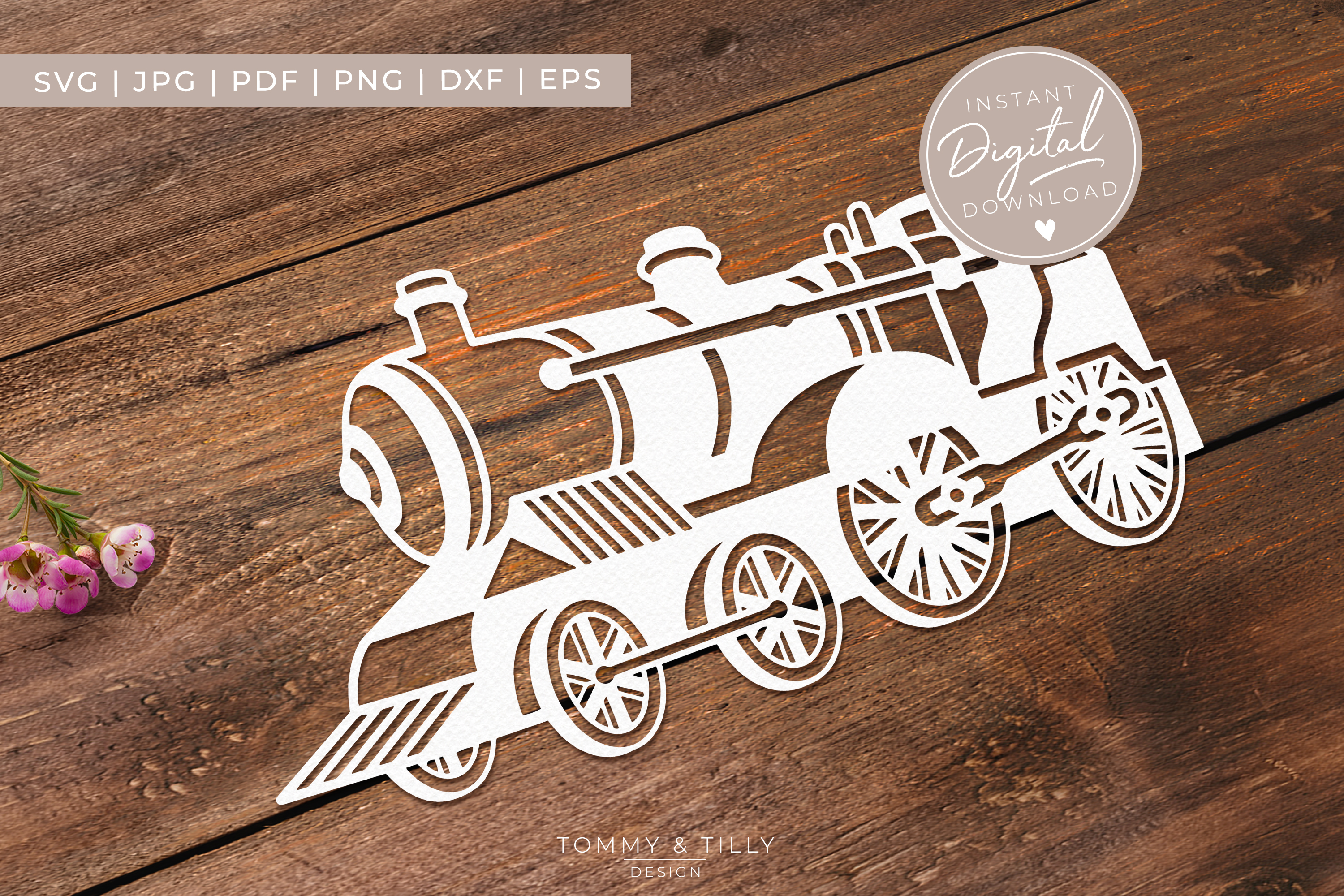 Steam Train- SVG EPS DXF PNG PDF JPG Cut File example image 3
