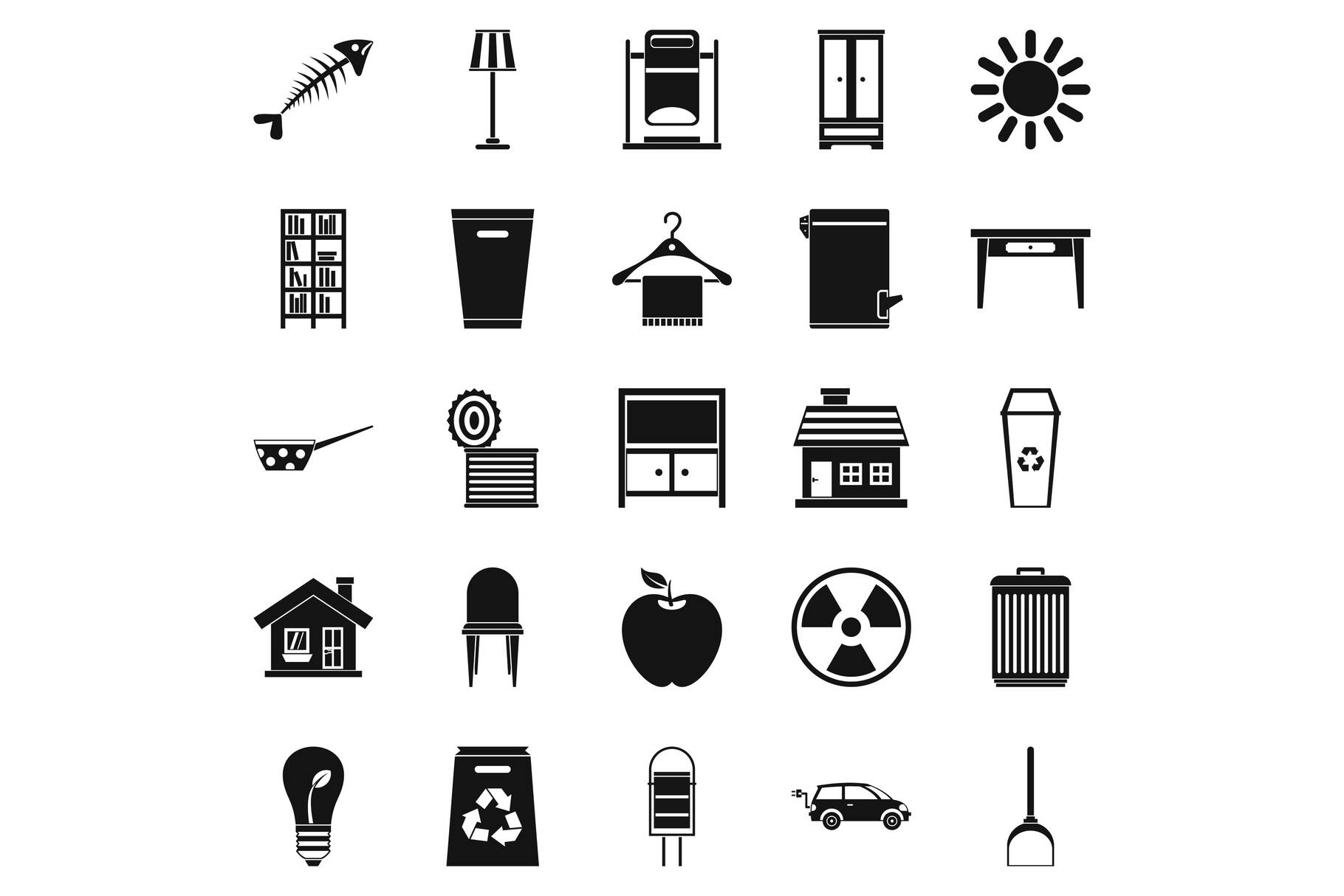 Cleaning icons set, simple style example image 1
