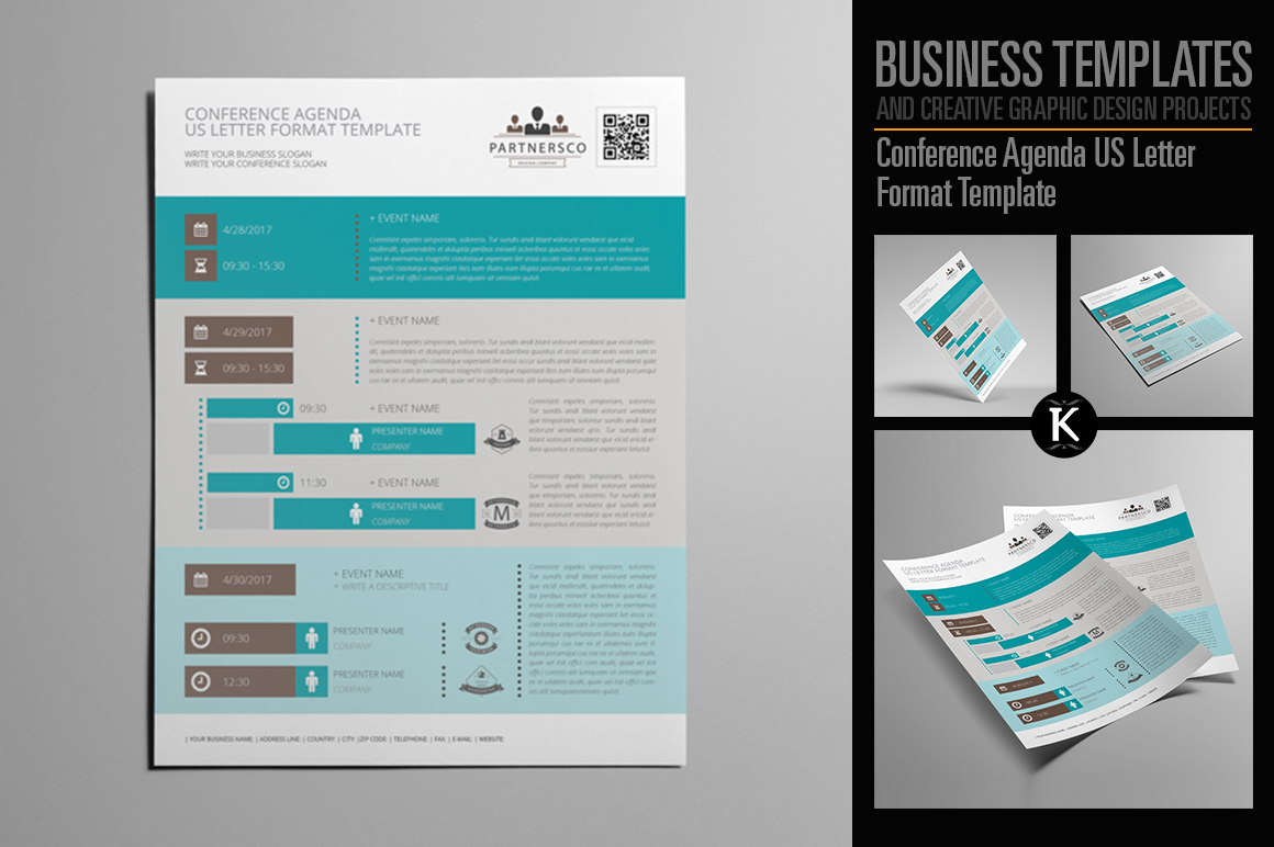 Conference Agenda Us Letter Format Template Example Image 1
