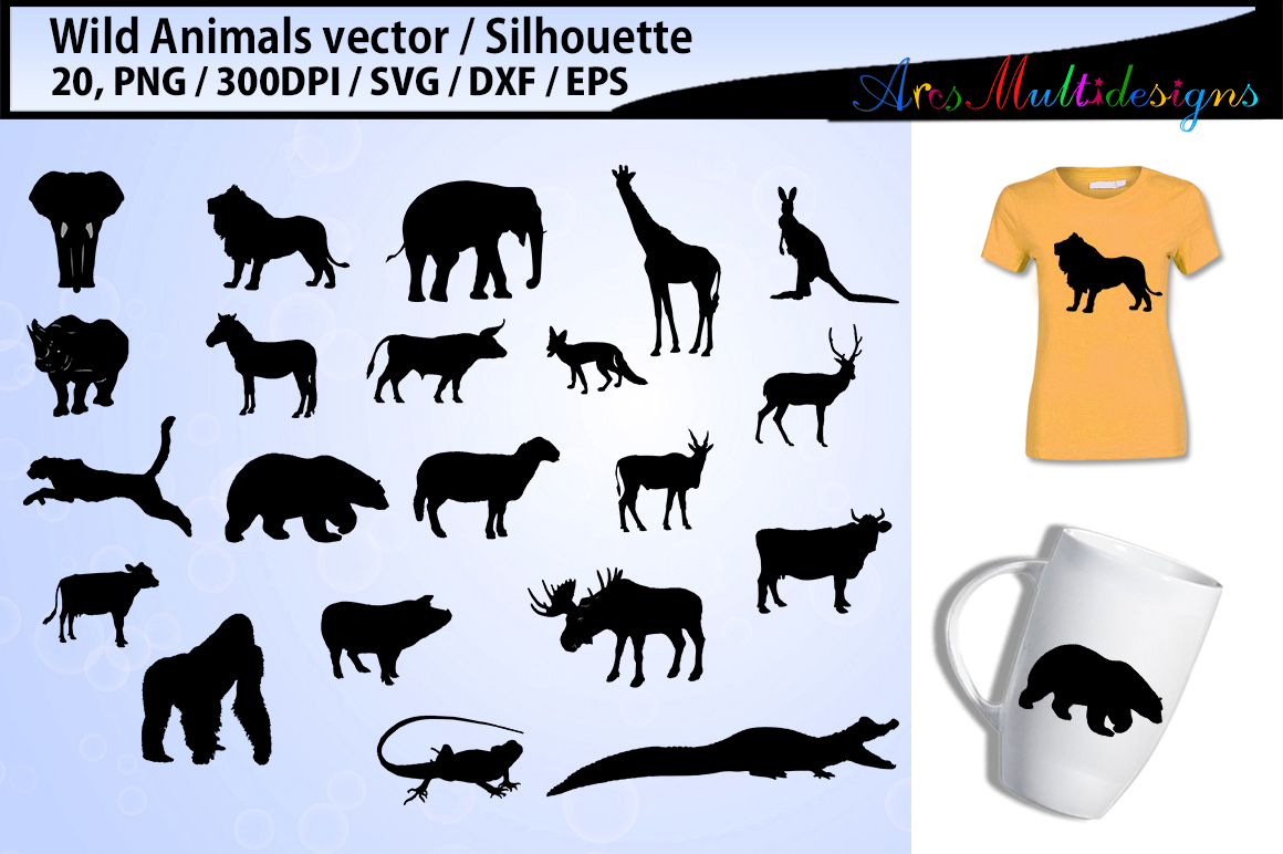 Wild Animals silhouette svg / Animals SVG Cutting Templates example image 1
