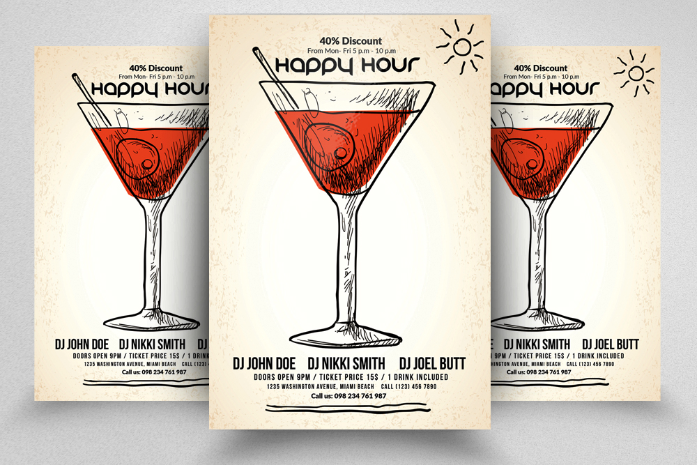 10 Happy Hour Flyer Template Bundle example image 9