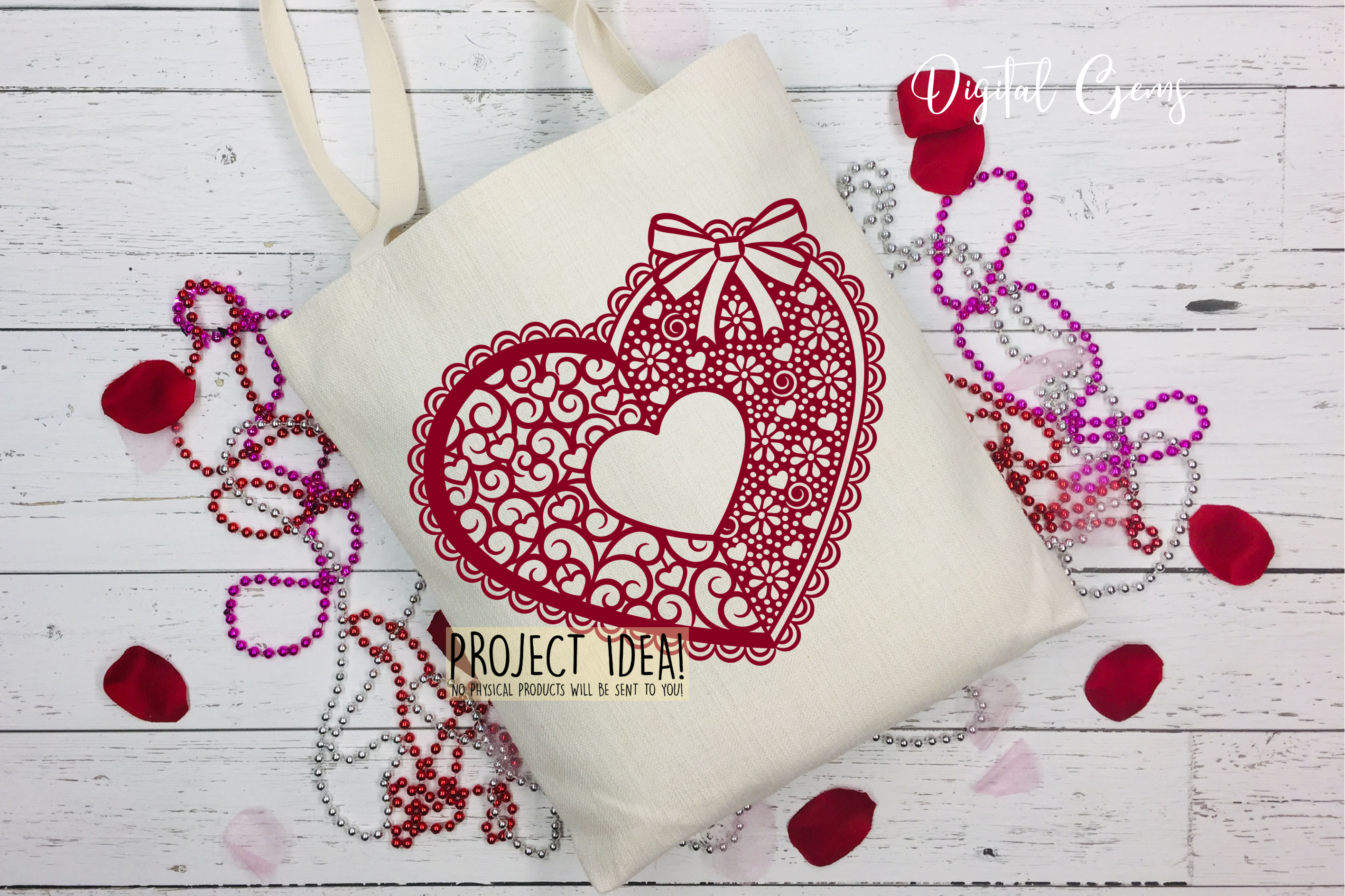 Love heart paper cut design. SVG / DXF / EPS / PNG files example image 4