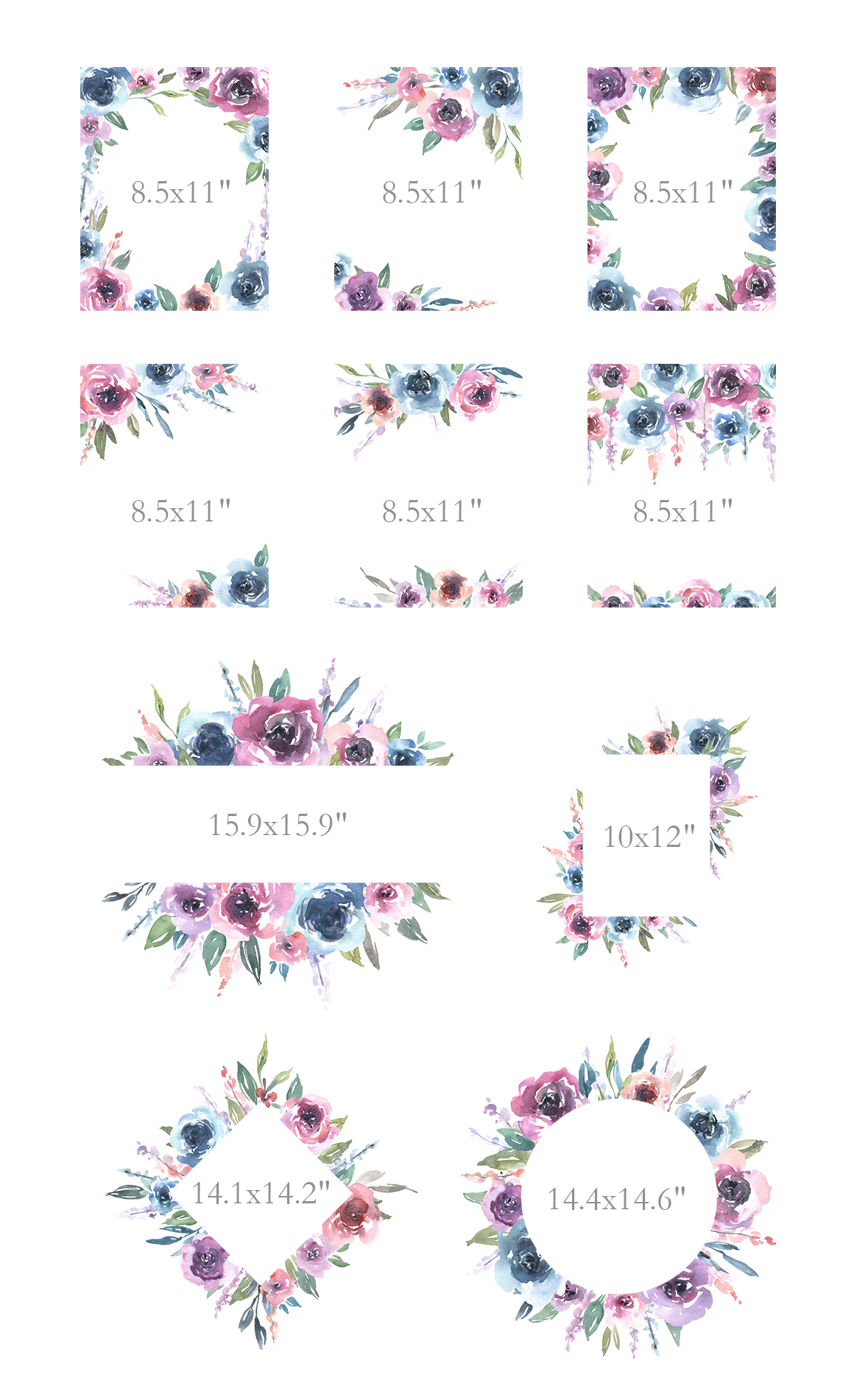 Watercolor Pink Blue Flowers Bouquets Frames example image 4
