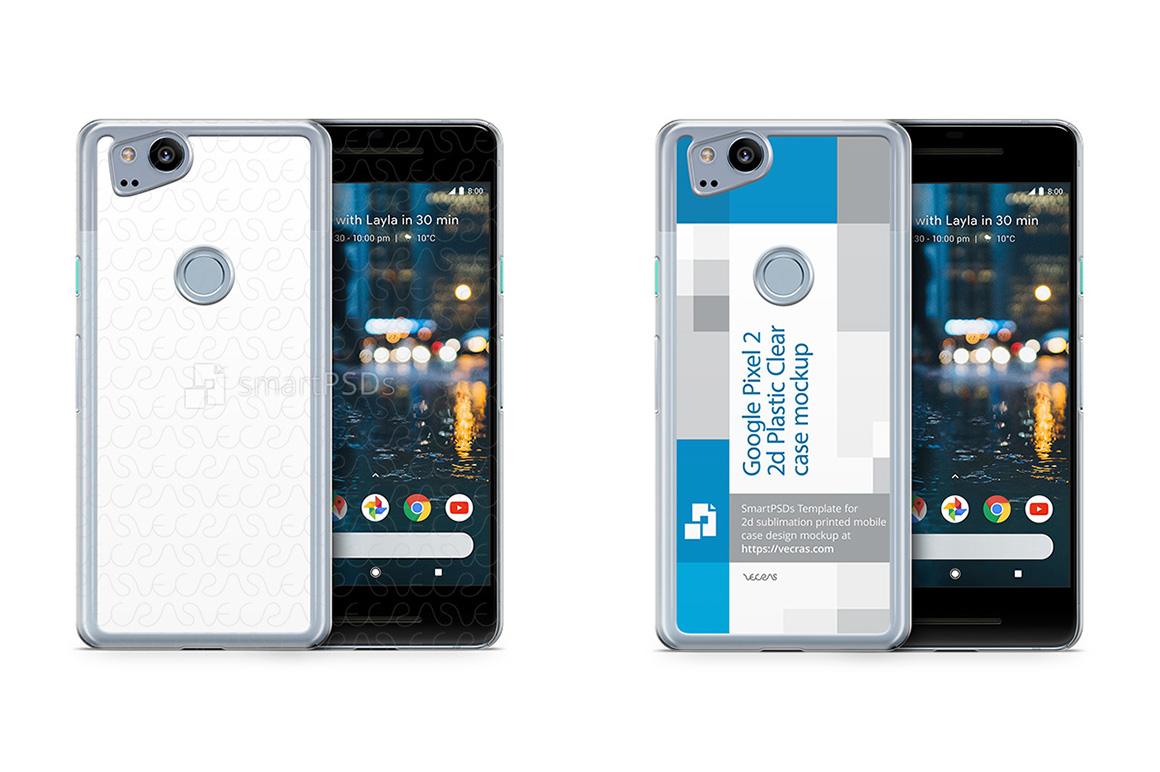 Google Pixel 2 2d PC Clear Case Design Mockup 2017 example image 1