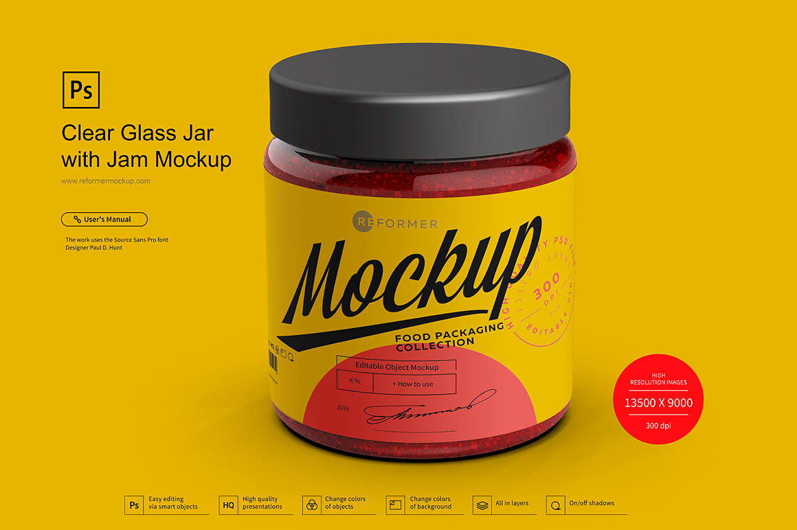 Clear Glass Jar with Jam Mockup example image 2