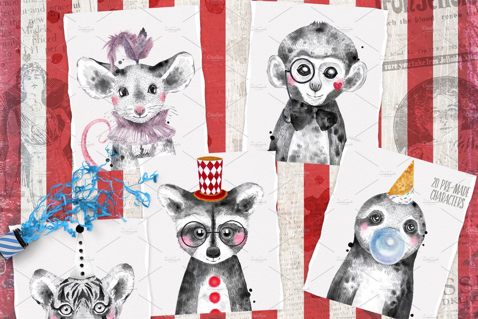 CIRCUS BABIES watercolor set example image 6