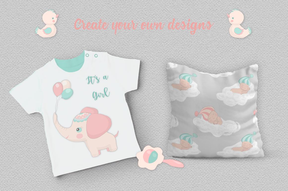 Baby Shower Illustration Set example image 5