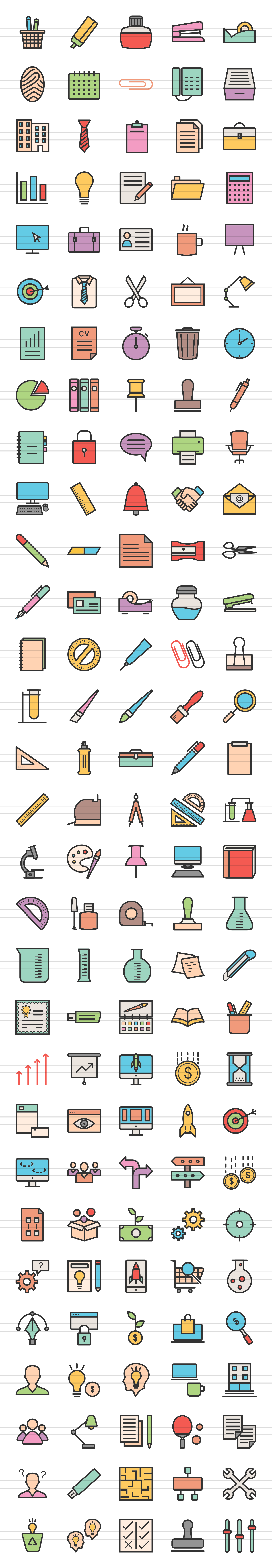 150 Office & Stationery Filled Line Icons example image 3