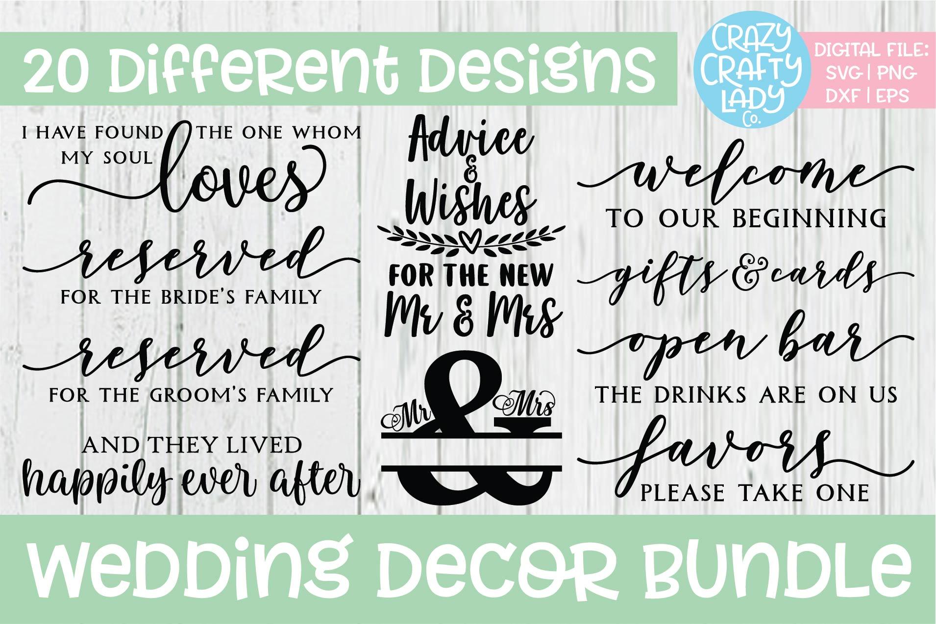 Wedding Decor SVG DXF EPS PNG Cut File Bundle example image 2