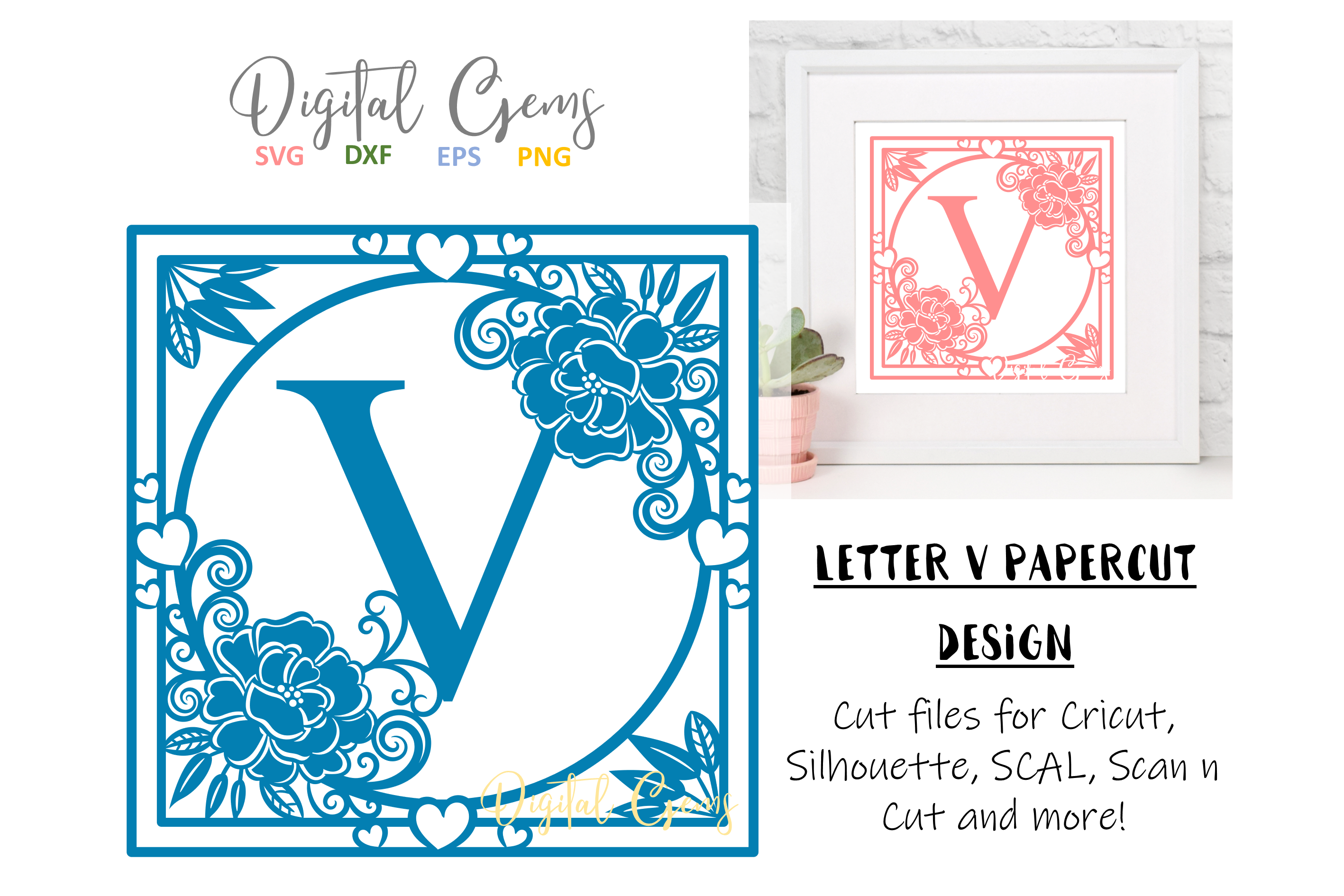 Letter V papercut design. SVG / DXF / EPS files example image 1