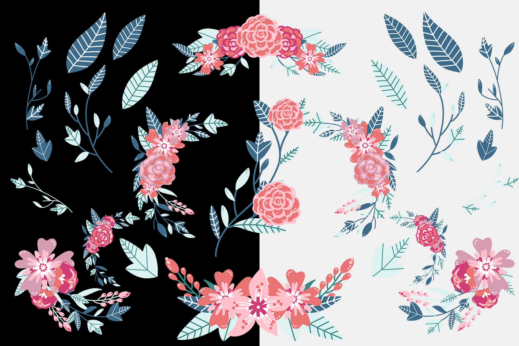 Pink Floral Clip Art, Pink Blush, Bouquets Scrapbooking, PNG example image 3