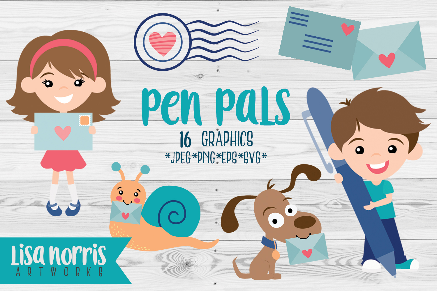 Pen Pals Clip Art Graphics & SVG Cutting Files example image 1