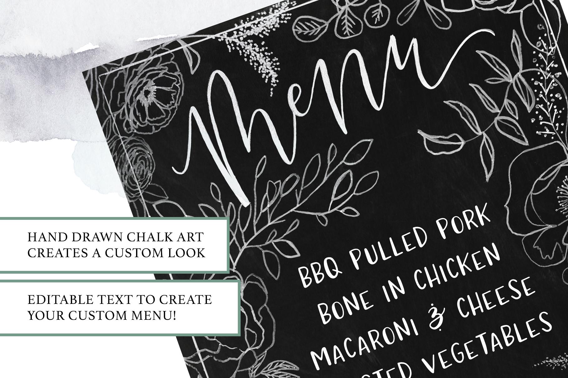 Floral Chalkboard Menu example image 2
