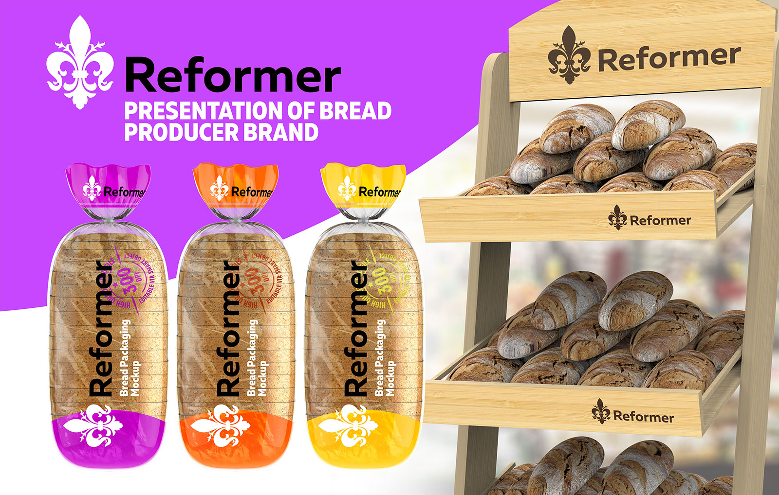 Bread package / 2 Mock-Ups presentation files example image 2