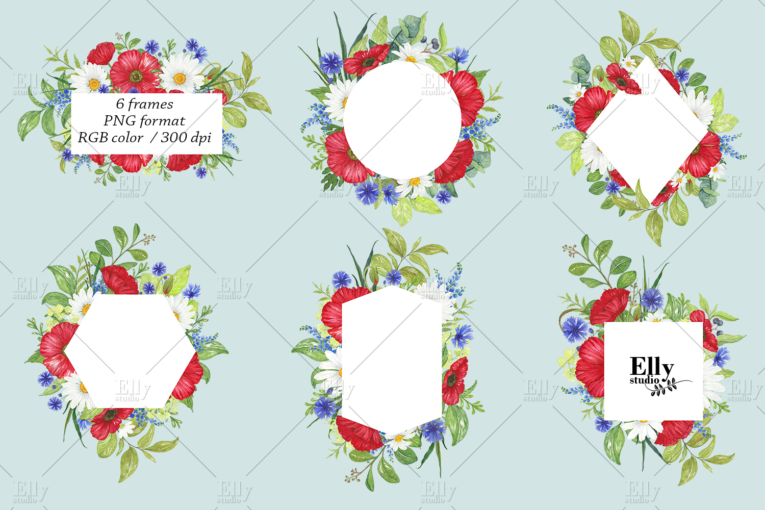 Watercolor Poppies Clipart Summer Flowers example image 3