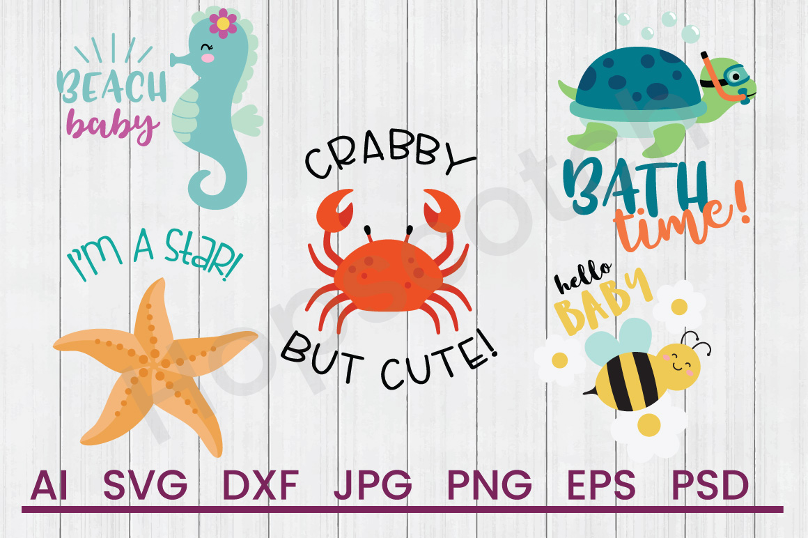 Baby Ocean SVG Bundle, DXF File, Cuttable File example image 1