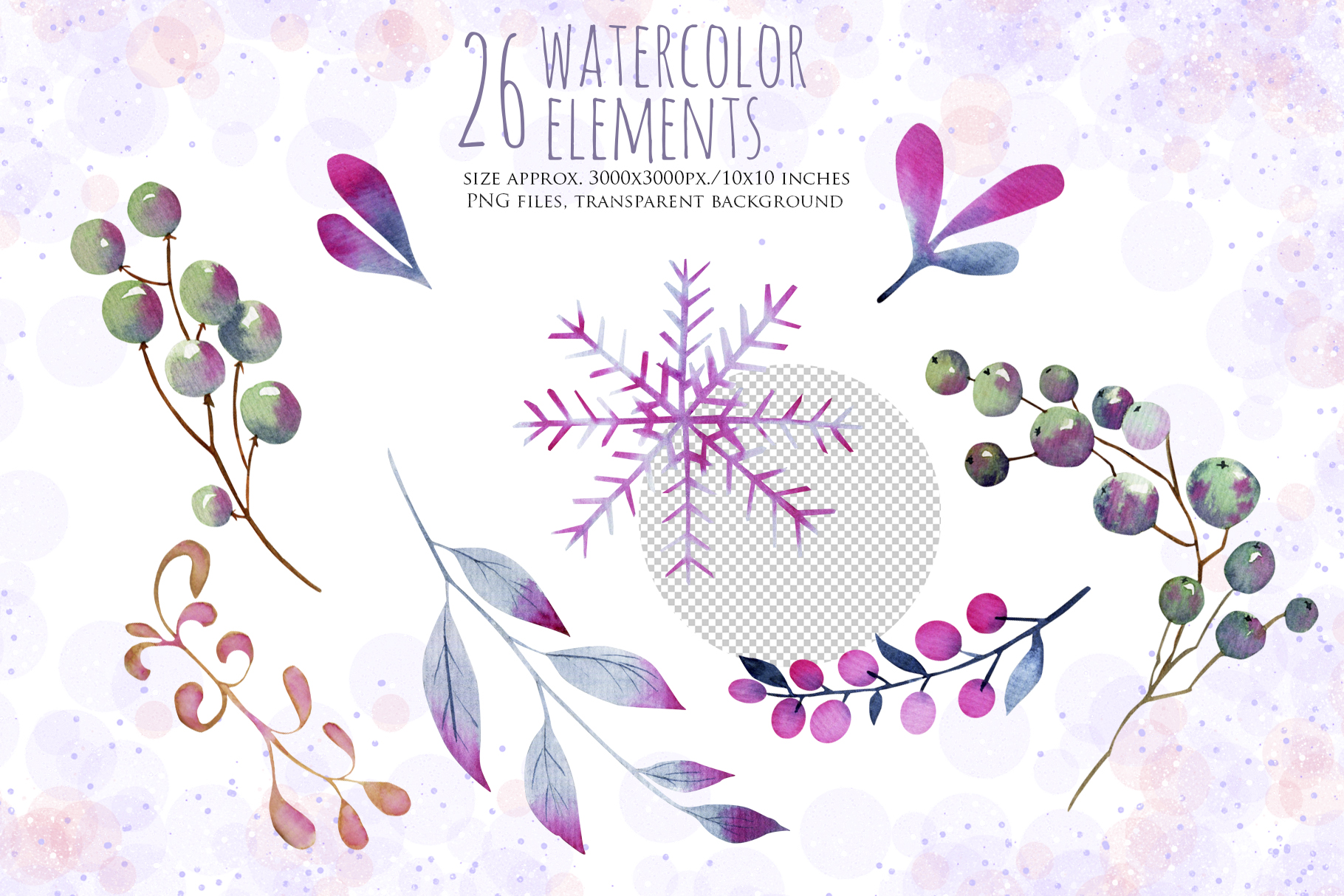 Let it snow. Watercolor Christmas clipart. example image 5