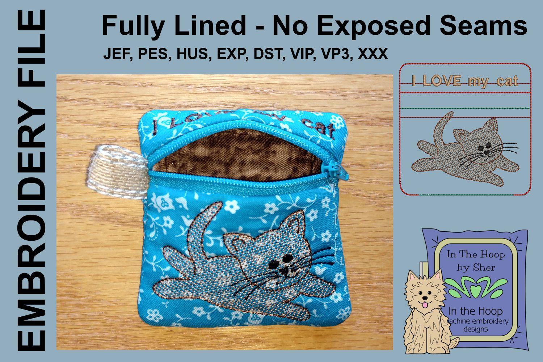 Kitten Mini Zipper Bag / Fully Lined, 4X4 HOOP example image 2