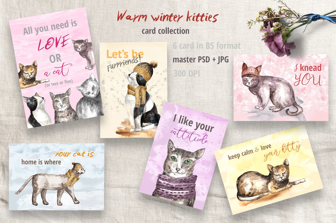 Warm Winter Kitties - watercolor example image 6