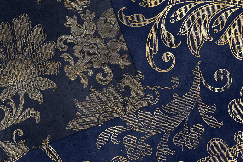 Navy Floral Velvet Digital Paper example image 3