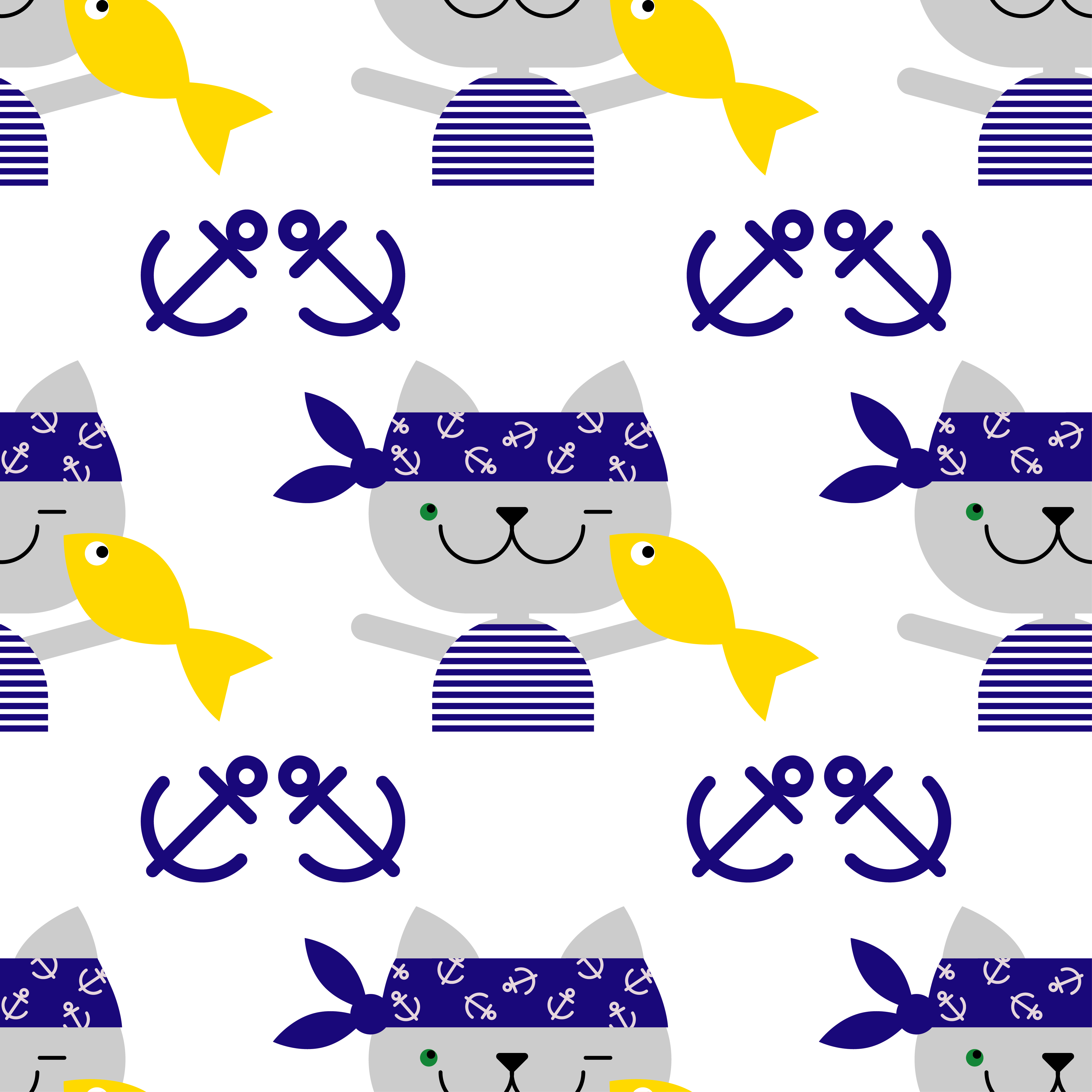 Seamless vector background with cats sailors. Cat with fish. Vector cute illustration.Textile rapport.  example image 1