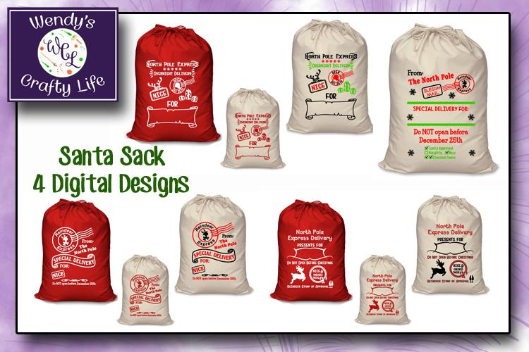 Santa Sack digital bundle of 4 designs - SVG, PNG & PDF example image 4