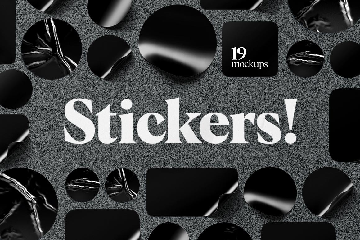 Stickers Mockups Set example image 1