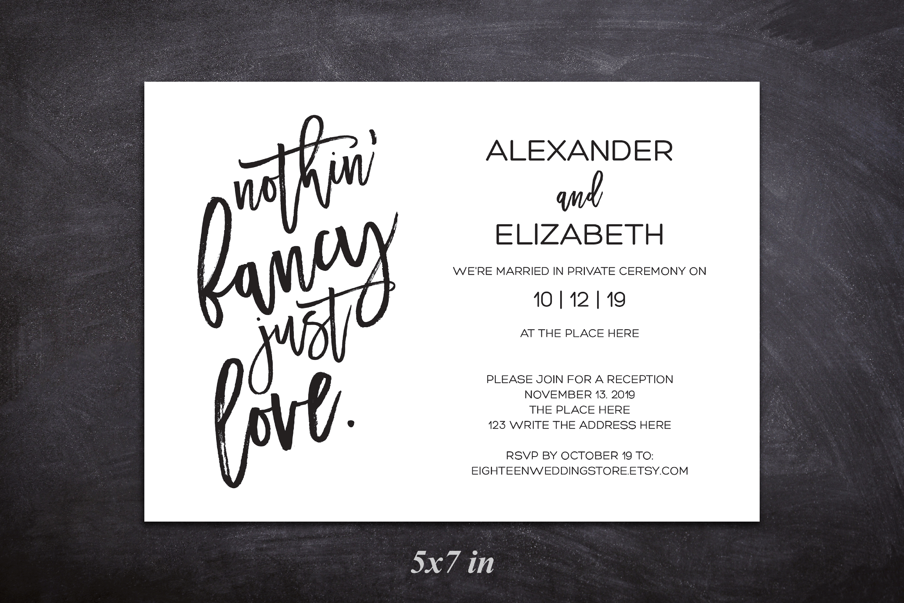 Elopement reception invitation, nothin fancy just love example image 4