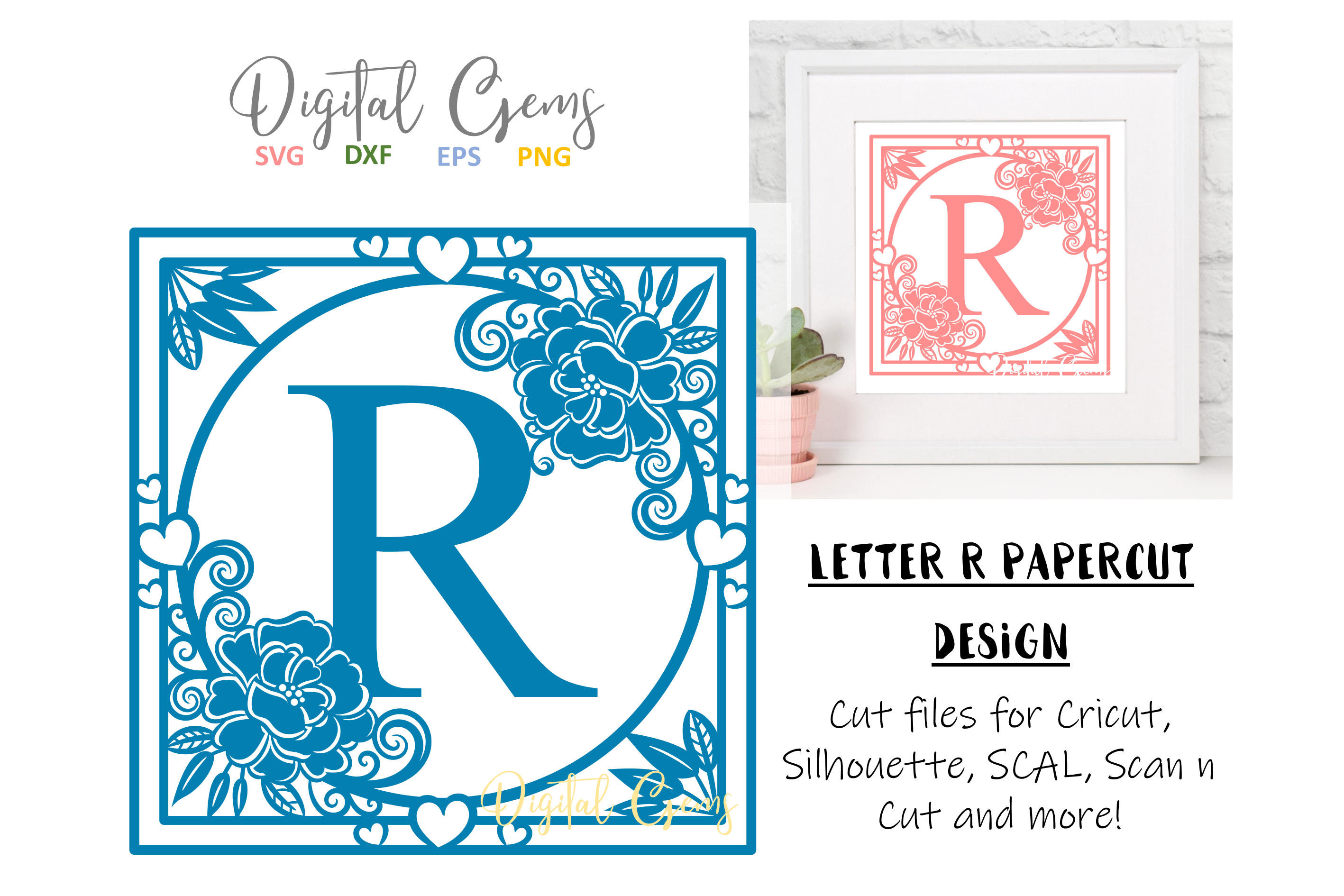 Letter R papercut design. SVG / DXF / EPS files example image 1