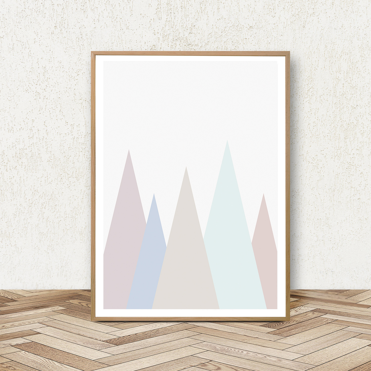 Geometric Print Set of 3, Blue and Pink Wall Art, Pastel Art example image 3