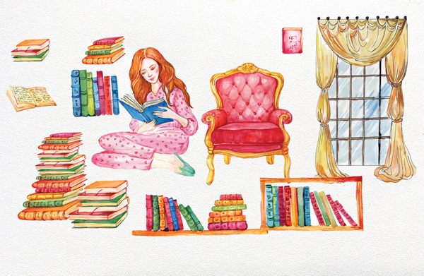 Books clipart, Watercolor girl.Watercolor illustration example image 2